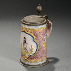 Pewter-mounted Polychrome Delftware Tankard
