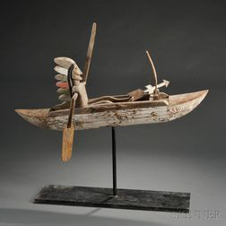 Indian in Canoe Whirligig