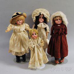 Four Bisque Head Girl Dolls