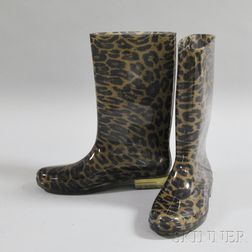 Pair of Stuart Weitzman Cheetah-print Rain Boots