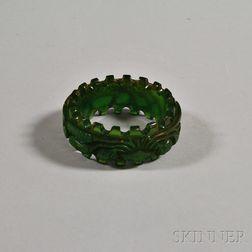 Bakelite Green Prystal Dental-carved Bangle