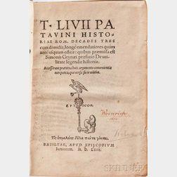 Livy (64 or 59 BC-AD 17) Historiae Rom. Decades Tres.