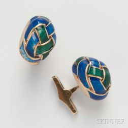 Pair of 14kt Gold and Enamel Cuff Links