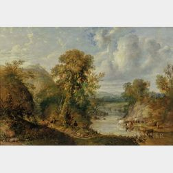 British School, 19th Century      Animated River Landscape with Figures and Cattle