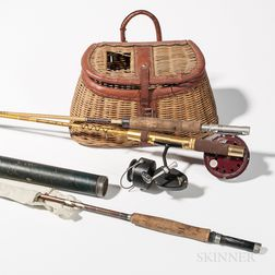 Three Vintage Fishing Rods and a Wicker Creel