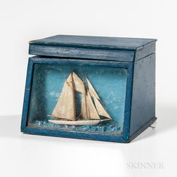 Blue-painted Box with Ship Diorama