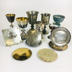 Group of Mostly Sterling, Pewter, and Silver-plate Chalices and Plates