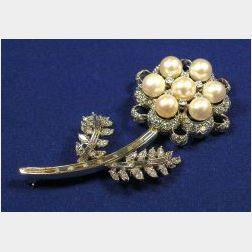 Platinum, Cultured Pearl and Diamond Brooch