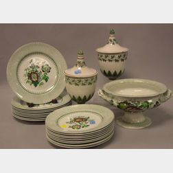 Twenty-Piece Ashworth Bros. Fleur de Lys Pattern Partial Dinner Set and a Pair of   Faience Covered Urns