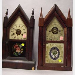 Chauncey Jerome and Wm. Gilbert Clock Co. Mahogany Veneer Steeple Shelf Clocks