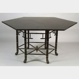 American Eastlake Ebonized and Faux Bamboo Hexagonal Dining Table