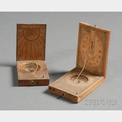 Two German Fruitwood Pocket Sundials