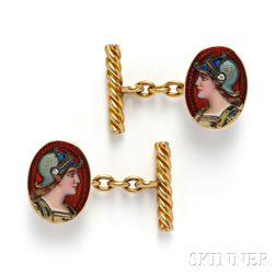 Art Nouveau 18kt Gold and Enamel Cuff Links