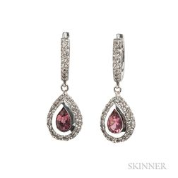 White Gold, Pink Tourmaline, and Diamond Earrings