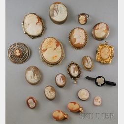 Large Group of Mostly Shell-carved Cameo Jewelry