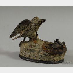 "Polychrome-painted Cast Iron ""Eagle and Eaglets"" Mechanical Bank"