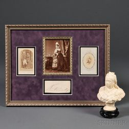 Queen Victoria Bust and Group of Framed Items
