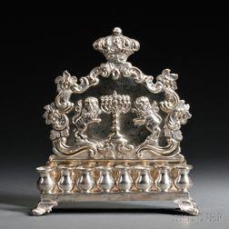 Polish .875 Silver Hanukkah Lamp