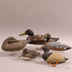 Five Painted Wooden Waterfowl Decoys