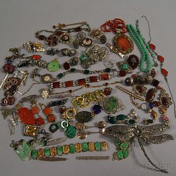 Collection of Mostly Silver and Hardstone Jewelry