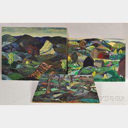 Leighton Cram (American, 1895-1981)      Three Landscapes