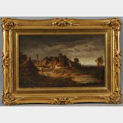 Heinrich von Reder (German, 1824-1909)      Quiet Village with Thatched Cottages