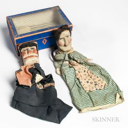 Two Hand Puppets in a Blue Storage Box