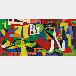 John Kacere (American, 1920-1999)      Homage to Stuart Davis