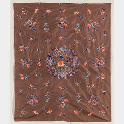Embroidered Chestnut Silk Coverlet