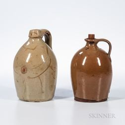 Two New England Redware Jugs