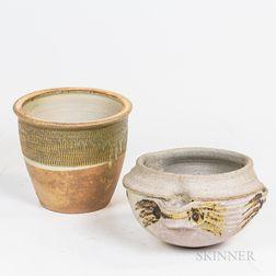Two Studio Art Pottery Planters