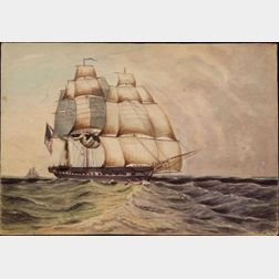 Attributed to Henry Schreiner Stellwagen (American, d. 1866)    Ship at Sail.