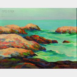Francis Stillwell Dixon (American, 1879-1967)      Rocks at Ogunquit, Maine
