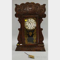 "W.L. Gilbert Pressed Oak ""Author"" No. 60 Shelf Clock"
