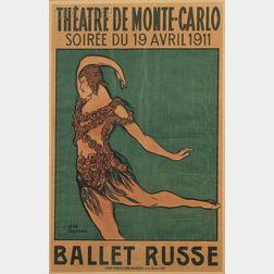 Jean Cocteau (French, 1889-1963), Advertising Poster: Ballet Russe, Soirée du 19 Avril 1911, Théâtre de Monte-Carlo (Nijinsky in Spectr