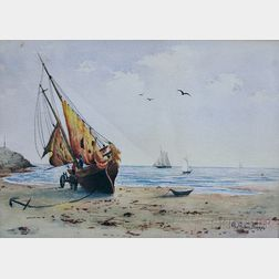 George Gardner Phipps (American, b. 1838)      Ship On the Shore.