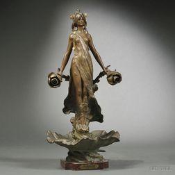 Art Nouveau Figural Patinated Spelter Lamp Base