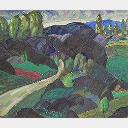 Leighton R. Cram (American, 1895-1981)      Road Through a Rocky Landscape