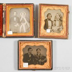 Two Cased Sixth-plate Ambrotypes and a Daguerreotype of Husbands and Wives.     Estimate $20-200