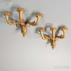 Pair of Three-light Gilt-bronze Sconces