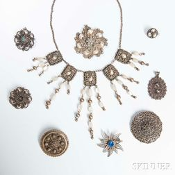 Nine Israeli Silver Filigree Jewelry Items