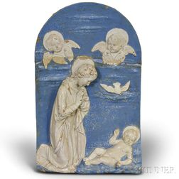 Large Della Robbia Terra-cotta Plaque of the Madonna and Child