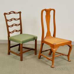 Chippendale Mahogany Ribbon-back Side Chair and a Queen Anne Side Chair.     Estimate $200-400