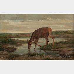 Rosa Bonheur (French, 1822-1899)      Chevreuil de désaltérant  /Roebuck quenching his thirst