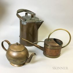 "English Brass Teapot, a ""Jatex"" Watering Can, and a Large Copper Pitcher"