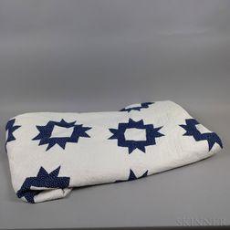 Blue and White Appliqued Cotton Quilt