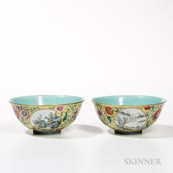 Pair of Famille Jaune Bowls