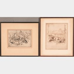 Joseph Pennell (American, 1857-1926)      Two Framed Etchings: Steel-Pittsburg No. 1