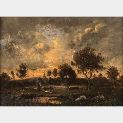 Barbizon School, 19th Century      Figure in a Landscape at Dusk