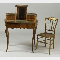 Louis XVI-style Ormolu Mounted Parquetry Bonheur de Jour and a Giltwood Side Chair